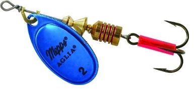 a blue mapps aglia spinner for trout fishing