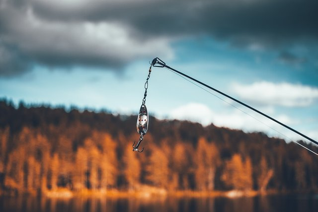Fishing lure on a rod
