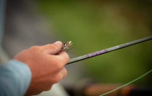 St croix mojo trout fly rod held by a man
